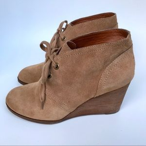 Lucky Brand Sway Leather Wedge Booties- 8